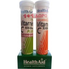 Health Aid - Vitamin C 1000mg Plus Echinacea + Vitamin C 1000mg 2 x 20 αναβράζοντα δισκία