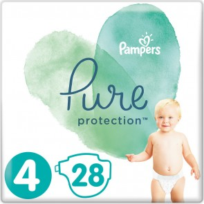 Pampers - Pure protection No 4 (9-14kg) Βρεφικές πάνες - 28τμχ