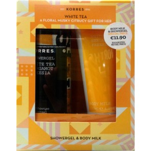Korres - White tea bergamot freesia showergel Αφρόλουτρο - 250ml  & Body milk Γαλάκτωμα σώματος - 125ml