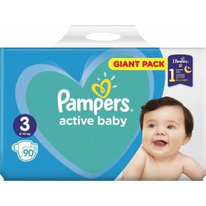 Pampers - Active baby No 3 (6-10kg) giant pack Βρεφικές πάνες - 90τμχ