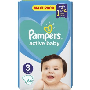 Pampers - Active baby No 3 (6-10kg) maxi pack Βρεφικές πάνες - 66τμχ