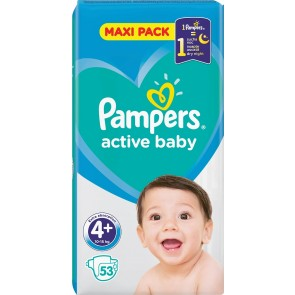 Pampers - Active baby No 4+ (10-15kg) maxi pack Βρεφικές πάνες - 53τμχ