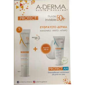 A-Derma - Protect invisible fluid very high protection SPF50 Αντηλιακή κρέμα προσώπου για κανονικές-μικτές & εύθραυστες επιδερμίδες - 40ml & Δώρο Protect AH repairing lotion after sun Επανορθωτικό γαλάκτωμα για μετά τον ήλιο - 100ml
