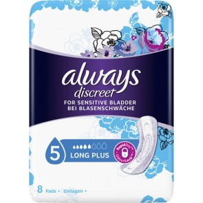 Always - Discreet for Sensitive Bladder Long Plus Σερβιέτες ακράτειας Long Plus - 8τεμ.
