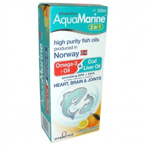 Vitabiotics - Aqua Marine 2 in1 Omega 3 & Cod Liver Oil Liquid Συμπλήρωμα διατροφής - 250 ml
