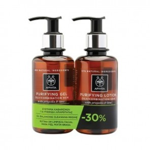 Apivita - Πακέτο Purifying Gel Oily to Combination Skin Propolis & Lime - 200ml & Purifying Lotion Propolis & Lime - 200ml