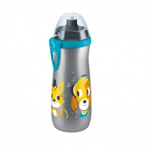NUK - Sports Cup Grey Dog & Cat Παγουράκι με καπάκι push-pull - 450ml
