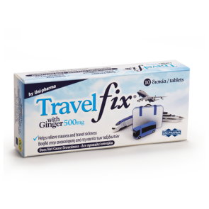 UNI PHARMA - Travel Fix with Ginger 500mg - 10 δισκία