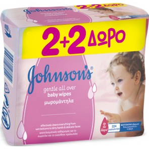Johnson & Johnson - Baby Gentle Cleansing Wipes Μωρομάντηλα (2+2 Δώρο) - 224τεμ