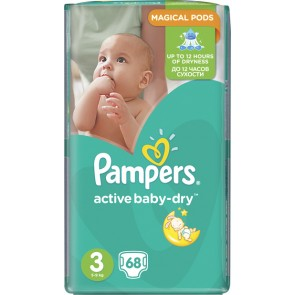 Pampers - Active Baby Dry Jumbo Pack Βρεφικές Πάνες No3 (5-9Kg) - 68 τμχ