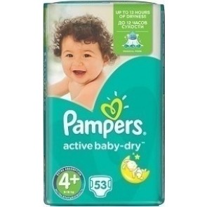Pampers - Active Baby Dry Βρεφικές Πάνες No 4+ (9-16kg) - 53τμχ