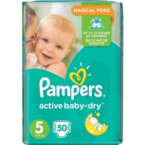 Pampers - Active Baby Dry Βρεφικές Πάνες No 5 (11-18Kg) - 50 τμχ