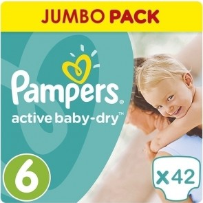 Pampers - Active Baby Dry Jumbo Pack Βρεφικές Πάνες No 6 (15+kg) - 42τμχ