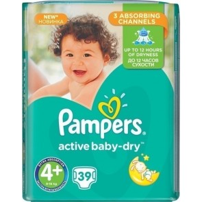Pampers - Active Baby Dry No4+ (9-16kg) - 39 τμχ