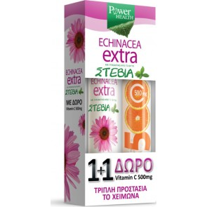 Power Health - Echinacea Extra με στέβια 24 αναβράζοντα δισκία & ΔΩΡΟ Βιταμίνη C 500mg - 20 αναβράζοντα δισκία