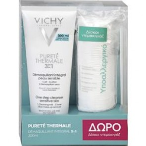 Vichy - Purete Thermale 3 in 1 One Step Cleanser Sensitive Skin Γαλάκτωμα καθαρισμού 3 σε 1 προσώπου & ματιών - 300ml & Δώρο Δίσκοι Ντεμακιγιάζ - 70τμχ