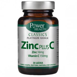 Power Health - Classics Platinum Range Zinc Plus C για το ανοσοποιητικό - 30 tabs